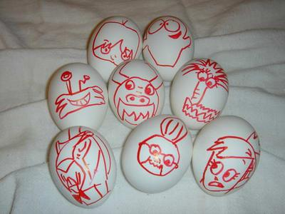 2004 Halloween Eggs by jozjozjoz.  Inspired by Foster's Home.  Apologies to Craig McCracken.