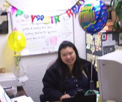 Joz's Birthday Office... sorry the picture sucks, but it is really festive here!